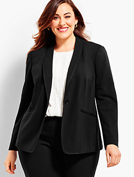 Luxe Knit Single-Button Blazer
