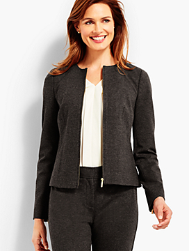 Luxe Herringbone Knit Zip-Front Jacket