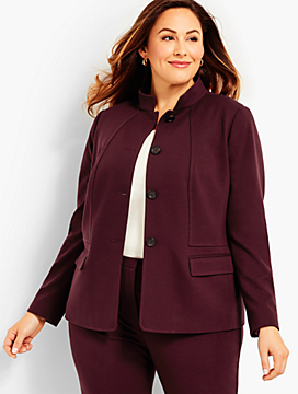 Woman Exclusive Luxe Knit Stand Collar Jacket