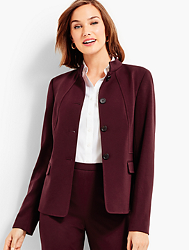 Womans Exclusive Luxe Knit Stand Collar Jacket