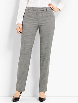 Houndstooth Straight-Leg Pant