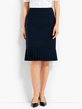 Seasonless Wool Pleated-Hem Skirt