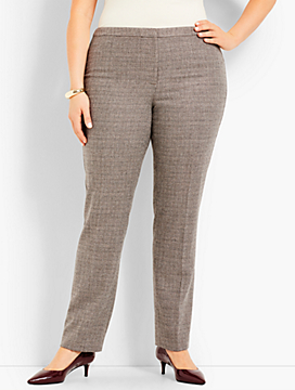 Plus Size Exclusive Luxe Tweed Side-Zip Slim-Leg Pant