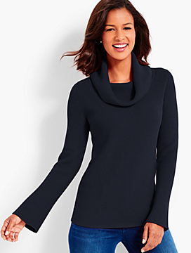 Flounce-Sleeve Cowlneck Sweater