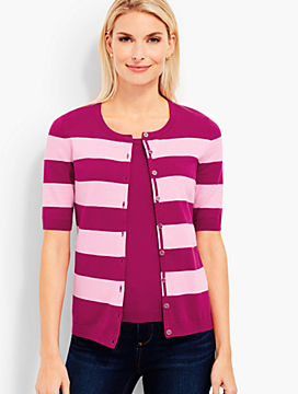 Elbow-Sleeve Charming Cardigan - Bold Stripes