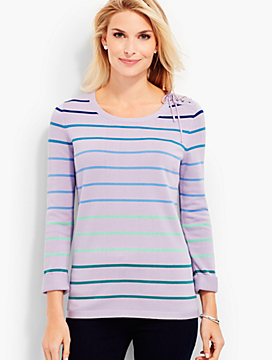 Lace-Up Shoulder Sweater - Rainbow Stripes