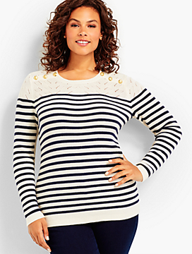 Marie Stripes Shoulder-Button Sweater