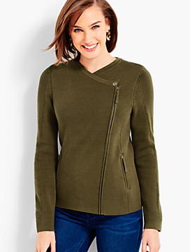 Asymmetrical Zip-Front Moto Sweater Jacket