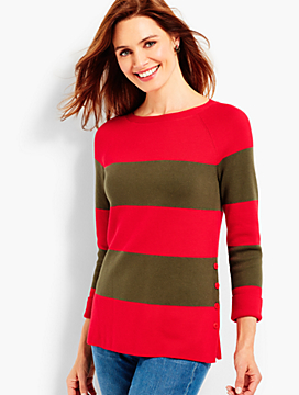 Side-Button Stripe Sweater