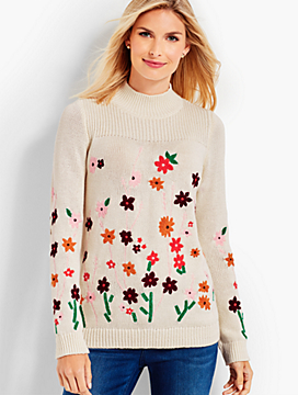 Flower-Embroidered Mockneck Sweater