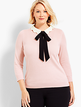 Scallop-Collar & Bow Sweater