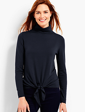 Tie-Front Merino Turtleneck Sweater