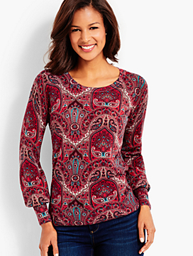 Button-Cuff Merino Wool Sweater - Opulent Paisley