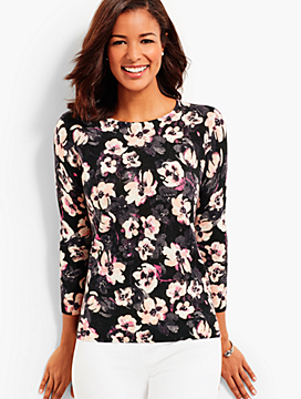 Cashmere Keyhole-Back Sweater - Flower Bouquets