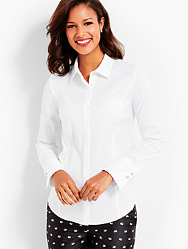 Poplin Shirt with Diamonte Buttons