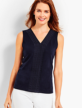 Lace-Trimmed V-Neck Tank