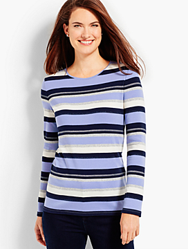 Newcastle Stripes Long-Sleeve Crewneck Tee - The Talbots Tee