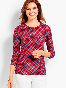 Glen Plaid Long-Sleeve Crewneck Tee