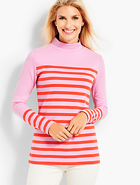 Calder Stripe Mockneck Knit Top