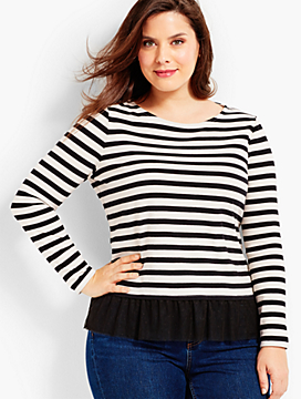 Striped Tulle-Hem Tee