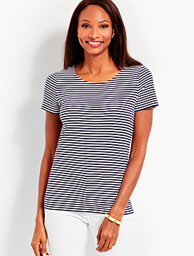 Pima Cotton Tie-Back Tee - Stripe
