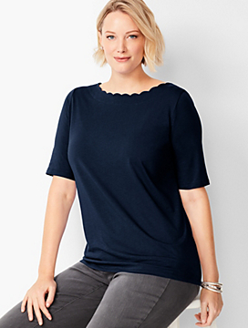 Elbow-Length-Sleeve Pima Scallop-Neck Top