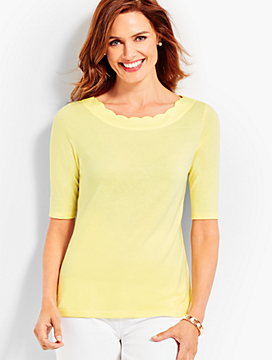 Scallop-Neck Elbow-Sleeve Tee