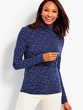 Dot Print Long-Sleeve Turtleneck