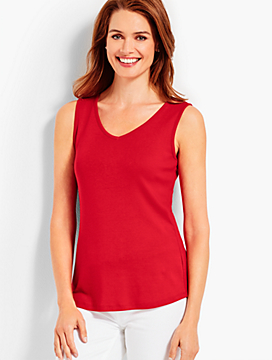 Sleeveless V-Neck Pima Tank