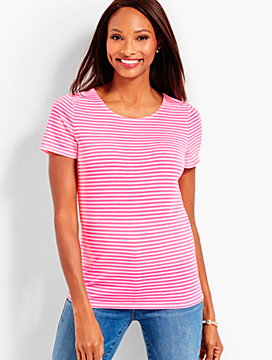 Pima Cotton Tie-Back Tee - Neon Stripe