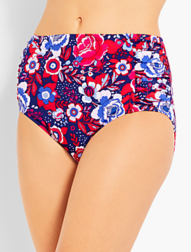 Floral Ruched Panel Swim Brief