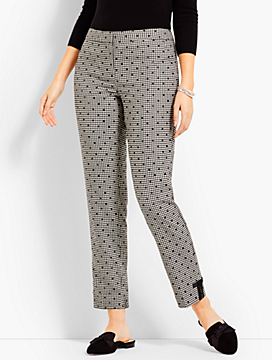 Gingham Polka-Dot Ankle Pant - Curvy Fit