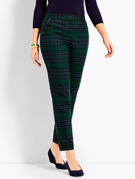Black Watch Plaid Straight Ankle Pant - Curvy Fit