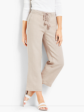Drawstring Linen Wide-Leg Crop