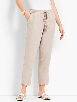 Drawstring Linen Straight-Leg Crop