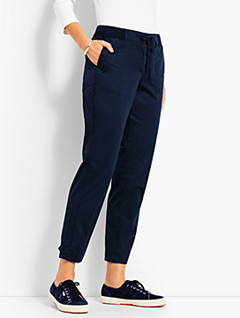 Drawstring Poplin Button-Tabbed Slim Ankle