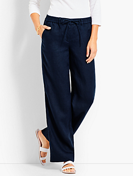 Drawstring Washed Linen Wide-Leg Pant