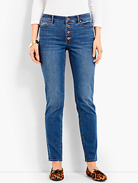 Button Front Denim Ankle Pant-Dobbin Wash