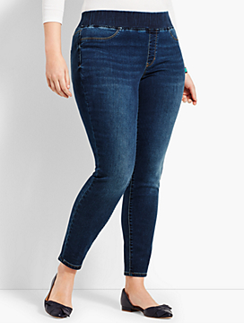 Plus Size Exclusive Comfort Stretch Denim Pull-On Jeggings - Saratoga