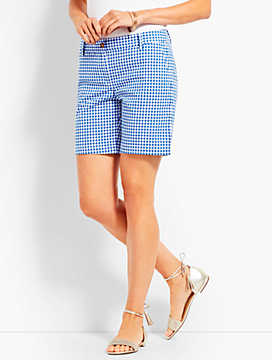 "7"" Girlfriend Chino Short-Gingham"