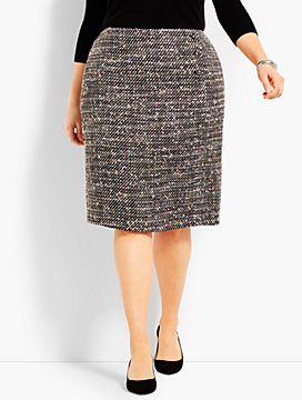 Confetti Tweed Wrap Pencil Skirt
