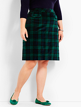 Plaid Velveteen A-Line Skirt