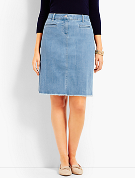 Frayed-Hem Denim Skirt-Vista Wash