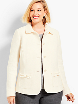 Boiled Wool Ruffle-Trim Jacket