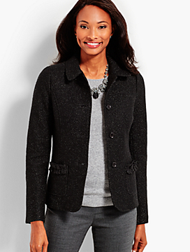 Metallic Boiled Wool Ruffle-Trim Jacket