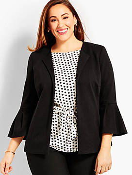 Womans Exclusive Refined Ponte Flounce-Sleeve Jacket