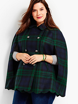 Scallop-Hem Cape - Black Watch Plaid