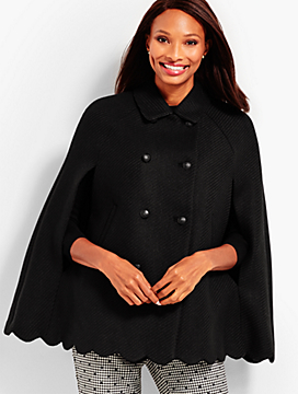 Scallop-Hem Cape - Solid Color