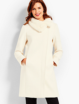 Ivory Gramercy Faux Fur-Collar Wool Coat
