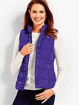 Ruffle-Front Puffer Vest